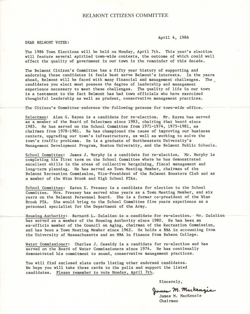 Nathan S. Gibson 1986 Citizens Committee letter